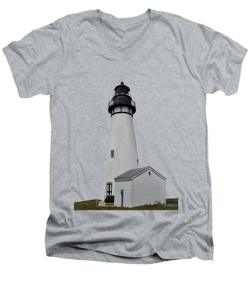 The Amelia Island Lighthouse Transparent For Customization Men's V-Neck T-Shirt by D Hackett