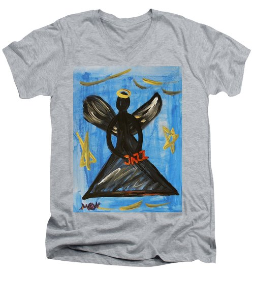 The Angel Of Jazz Men's V-Neck T-Shirt by Mary Carol Williams