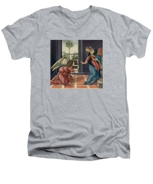 The Annunciation After Botticelli Men's V-Neck T-Shirt by Yvonne Wright