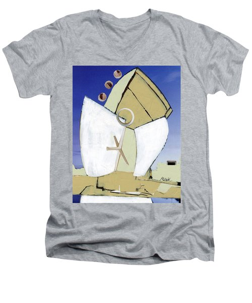 Men's V-Neck T-Shirt featuring the painting The Arc by Michal Mitak Mahgerefteh