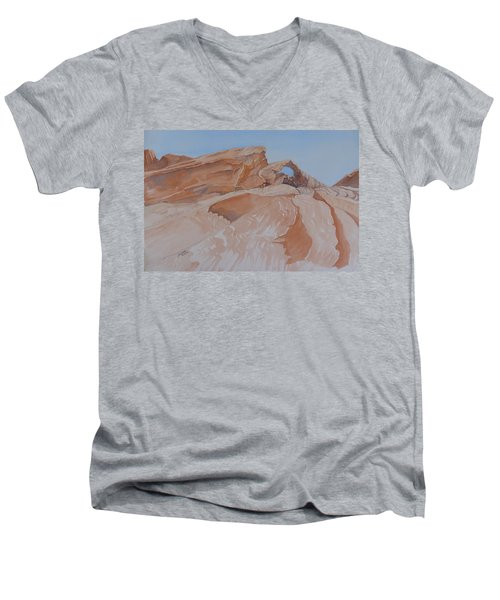Men's V-Neck T-Shirt featuring the painting The Arch Rock Experiment - Vi by Joel Deutsch