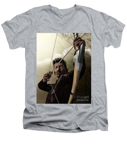Men's V-Neck T-Shirt featuring the digital art The Archer by Sandra Bauser Digital Art
