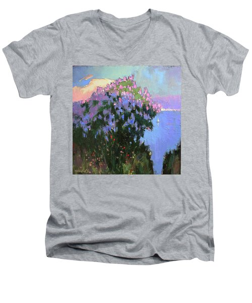 Men's V-Neck T-Shirt featuring the painting The Aroma Of Wandering by Anastasija Kraineva