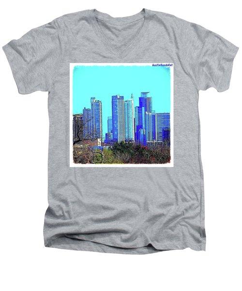 The #austin #skyline On A Sunny, Cold Men's V-Neck T-Shirt by Austin Tuxedo Cat