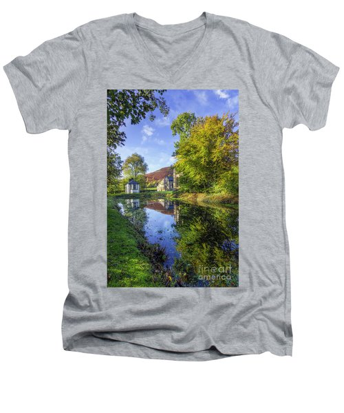 The Autumn Pond Men's V-Neck T-Shirt by Ian Mitchell