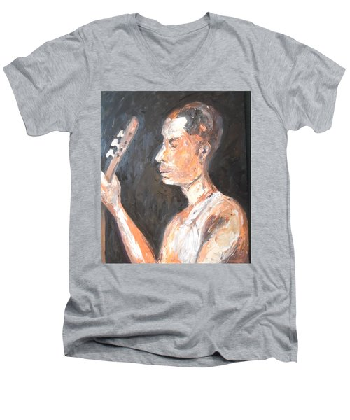 Men's V-Neck T-Shirt featuring the painting The Baglama Player by Esther Newman-Cohen
