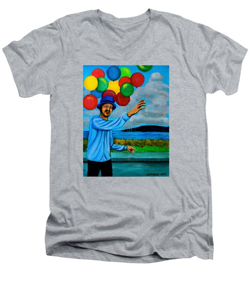 Men's V-Neck T-Shirt featuring the painting The Balloon Vendor by Cyril Maza