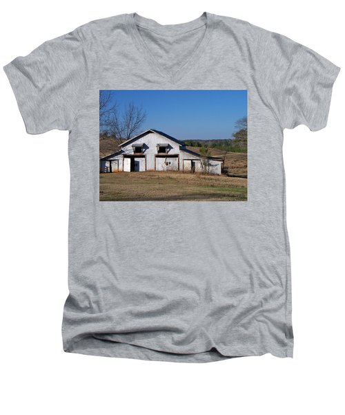 Men's V-Neck T-Shirt featuring the photograph The Barn by Betty Northcutt