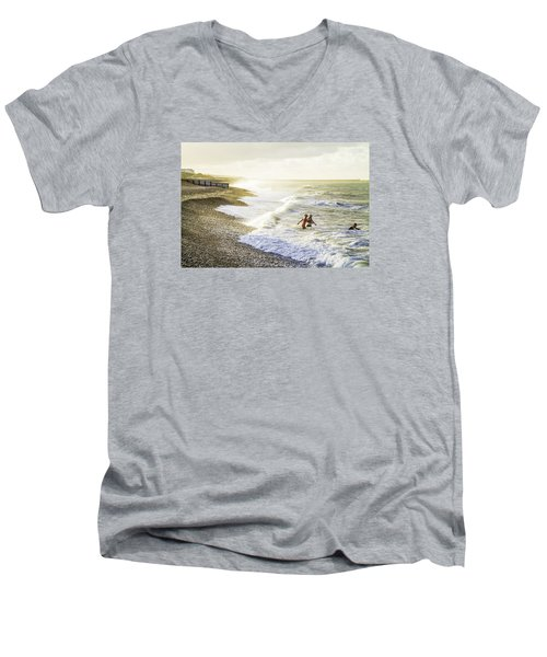 Men's V-Neck T-Shirt featuring the photograph The Bathers by Russell Styles