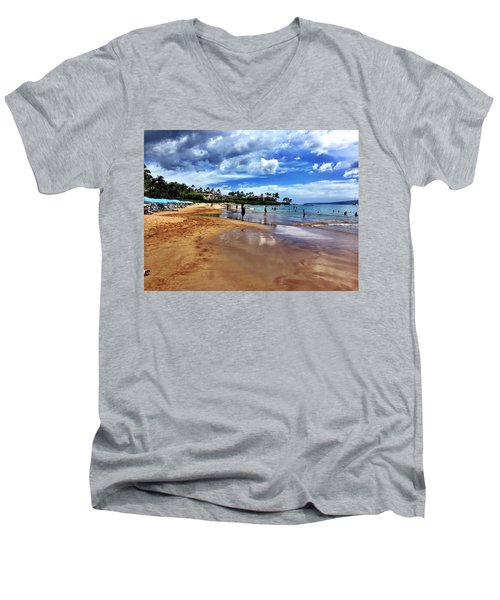 The Beach 2 Men's V-Neck T-Shirt by Michael Albright