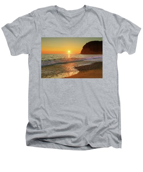 the beach and the Mediterranean sea in Montenegro in the summer at sunset Men's V-Neck T-Shirt