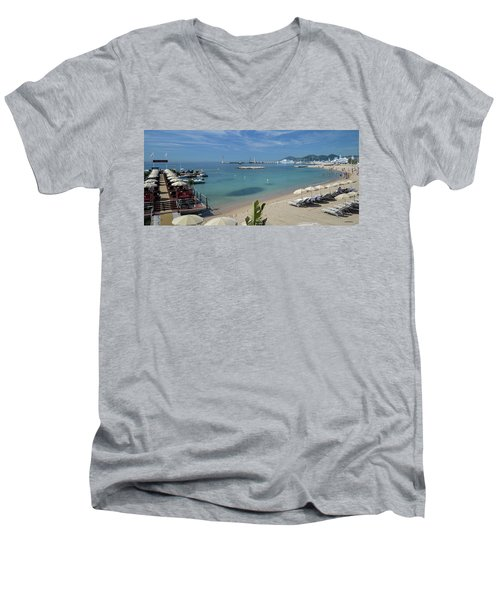 Men's V-Neck T-Shirt featuring the photograph The Beach At Cannes by Allen Sheffield