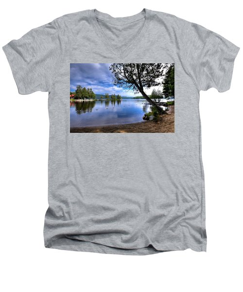 Men's V-Neck T-Shirt featuring the photograph The Beach At Covewood Lodge by David Patterson