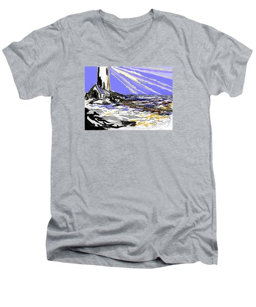 Men's V-Neck T-Shirt featuring the drawing The Beacon by Desline Vitto
