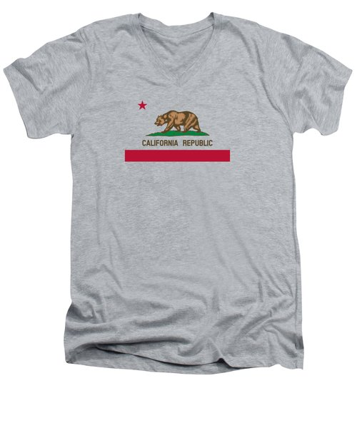 The Bear Flag - State Of California Men's V-Neck T-Shirt by War Is Hell Store