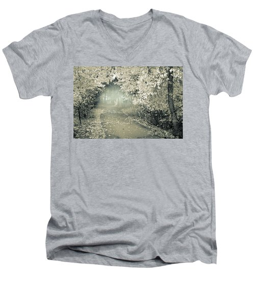 Men's V-Neck T-Shirt featuring the photograph The Bench That Waits For You by Tara Turner