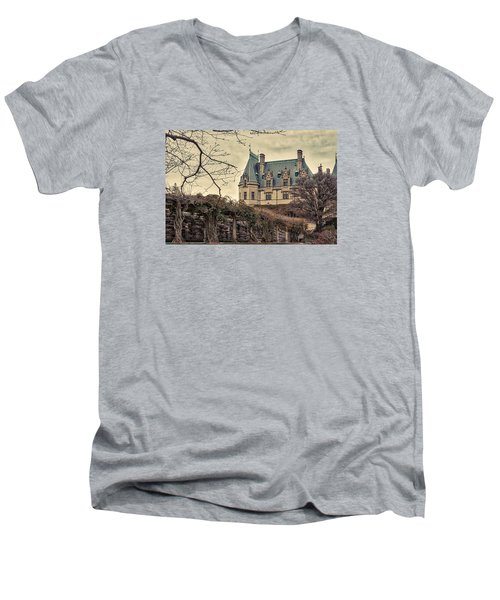 The Biltmore Mansion In The Fall Men's V-Neck T-Shirt by Robert FERD Frank