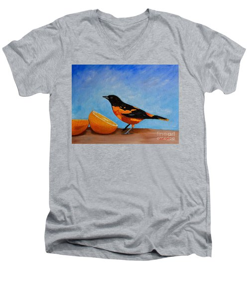 Men's V-Neck T-Shirt featuring the painting The Bird And Orange by Laura Forde