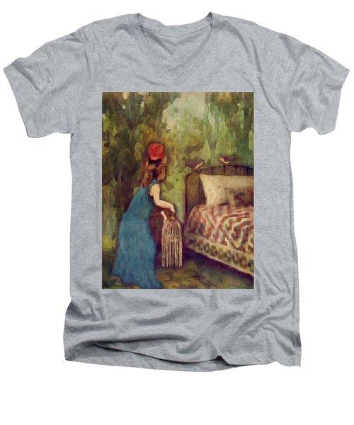 The Bird Catcher Men's V-Neck T-Shirt by Lisa Noneman