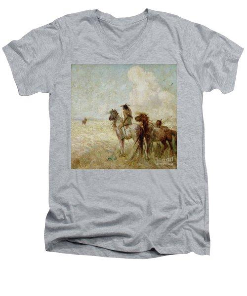 The Bison Hunters Men's V-Neck T-Shirt by Nathaniel Hughes John Baird