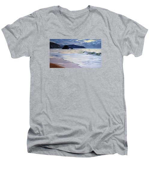 Men's V-Neck T-Shirt featuring the painting The Black Rock Widemouth Bay by Lawrence Dyer