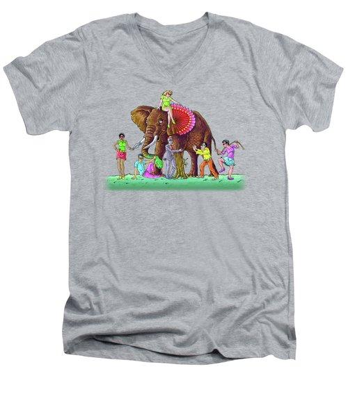 The Blind And The Elephant Men's V-Neck T-Shirt by Anthony Mwangi