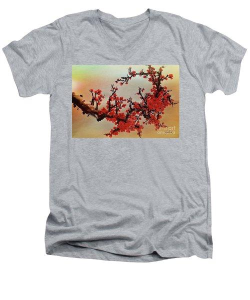 The Bloom Of Cherry Blossom Men's V-Neck T-Shirt