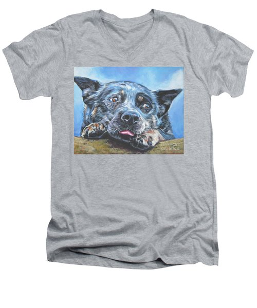 Men's V-Neck T-Shirt featuring the painting The Blue Heeler by Lee Ann Shepard