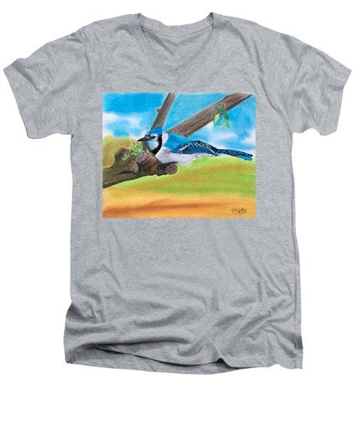 The Blue Jay  Men's V-Neck T-Shirt