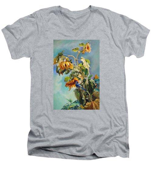 The Blue Jay Who Came To Breakfast Men's V-Neck T-Shirt by Svitozar Nenyuk