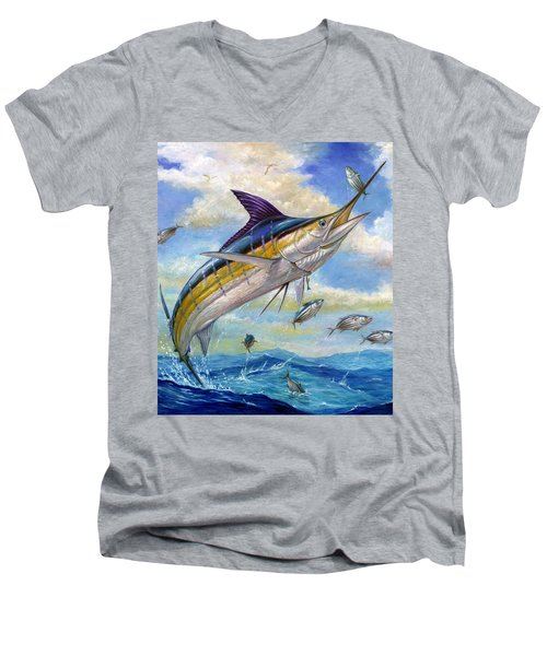 The Blue Marlin Leaping To Eat Men's V-Neck T-Shirt