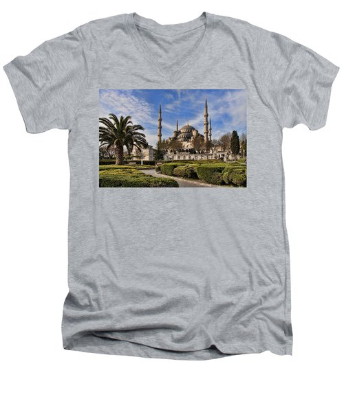 The Blue Mosque In Istanbul Turkey Men's V-Neck T-Shirt