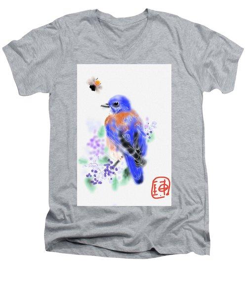 The Bluebird Sings  Men's V-Neck T-Shirt