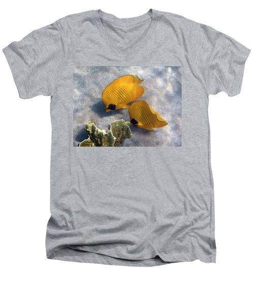 The Bluecheeked Butterflyfish Men's V-Neck T-Shirt