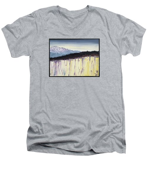 The Bluff And The Mountains Men's V-Neck T-Shirt by Carolyn Doe
