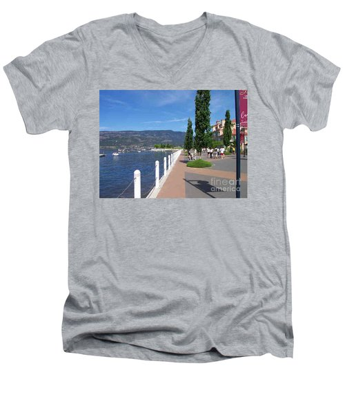 Men's V-Neck T-Shirt featuring the painting The Boardwalk In Kelowna   by Rod Jellison