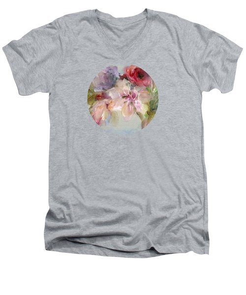 Men's V-Neck T-Shirt featuring the painting The Bouquet by Mary Wolf