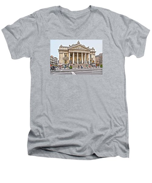 Men's V-Neck T-Shirt featuring the photograph The Bourse In Brussels by Pravine Chester
