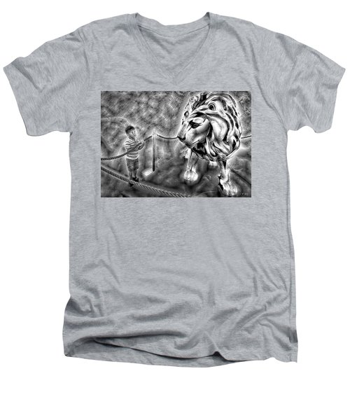The Boy And The Lion 18 Men's V-Neck T-Shirt