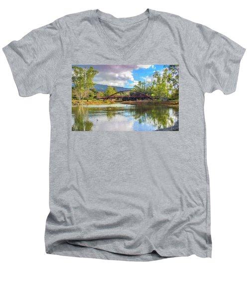 The Bridge At Vasona Lake Digital Art Men's V-Neck T-Shirt