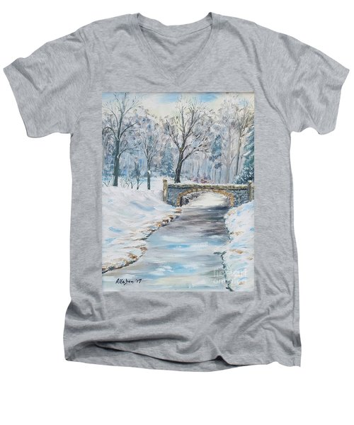 The Bridge Men's V-Neck T-Shirt by Stanton Allaben