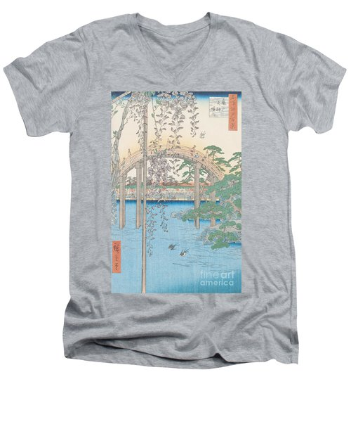 The Bridge With Wisteria Men's V-Neck T-Shirt by Hiroshige