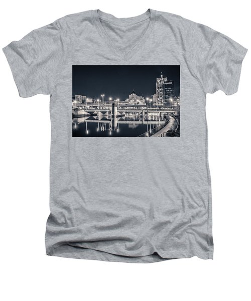 Men's V-Neck T-Shirt featuring the photograph The Bright Dark Of Night by Bill Pevlor