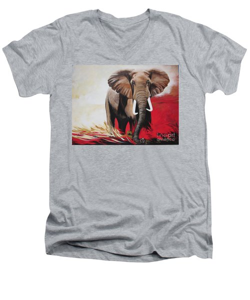 Win Win - The  Bull Elephant  Men's V-Neck T-Shirt