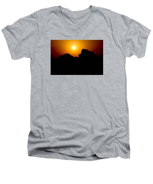 Men's V-Neck T-Shirt featuring the photograph The Burn by Jez C Self