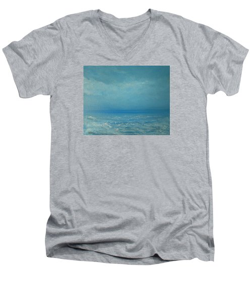 Men's V-Neck T-Shirt featuring the painting The Calm Before The Storm by Jane See
