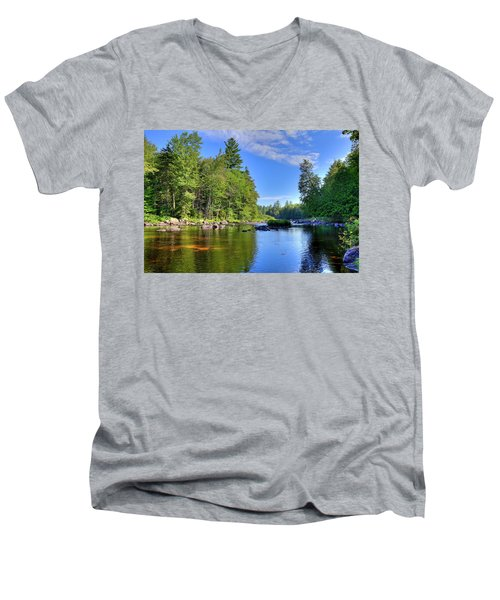 Men's V-Neck T-Shirt featuring the photograph The Calm Below Buttermilk Falls by David Patterson