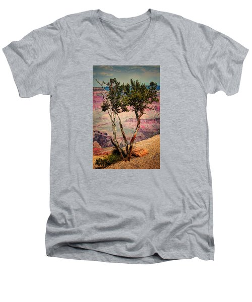 Men's V-Neck T-Shirt featuring the photograph The Canyon Tree by Tom Prendergast