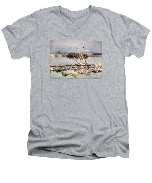 The Capital Wheel At National Harbor Men's V-Neck T-Shirt