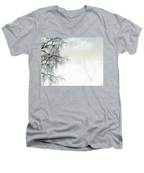 Men's V-Neck T-Shirt featuring the digital art The Cardinal by Trilby Cole
